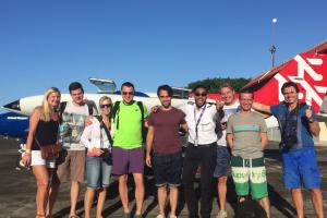 Passeneger disembarking at Cabo Rojo for their getaway